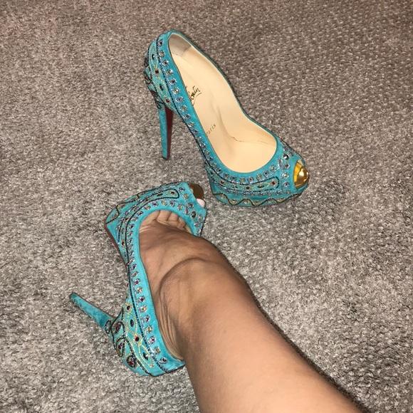 583702fdfc59 Christian Louboutin Shoes - Christian Louboutin turquoise Bollywood heels